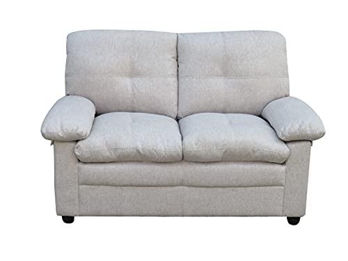 MUEBLIX.COM | Sofa 2 Plazas Coast | Sofas de Salón Modernos | Asientos y Respaldo Espuma | Sofa Tapizado en Tela | Color Beige