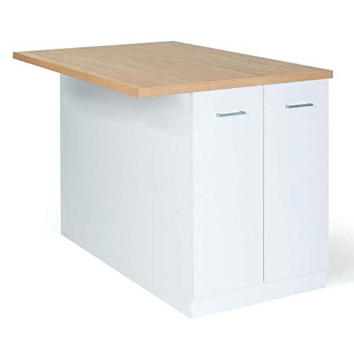 IDMarket - Ilot central IVO 120 cm blanc avec plan de travail façon hêtre