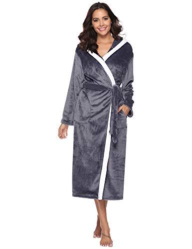 iClosam Bademantel Damen, Morgenmantel Winter Flanell Kontrastfarbe Saunamantel Pyjama Nightwear mit Kapuze und Gürtel Perfekt für Loungewear, Nachtwäsche, Spa