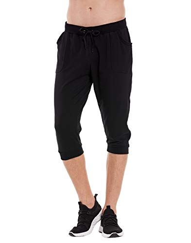 HDE Mens 3/4 Workout Joggers Yoga Capri Pants with Pockets for Running Training (Black, X-Large)