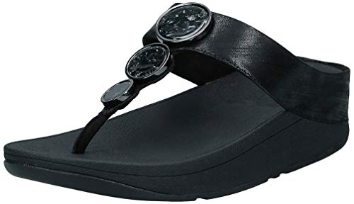 FitFlop Halo Shimmer Toe-Thongs, Sandalias de Punta Descubierta Mujer, Negro (All Black 090), 41 EU