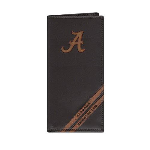 NCAA Alabama Crimson Tide Zep-Pro Pull-Up Leather Long Secretary Embossed Wallet, Brown