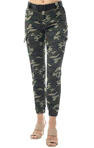 Almost Famous Women's Juniors Web Belted Cargo Jogger Pant Green Camouflage