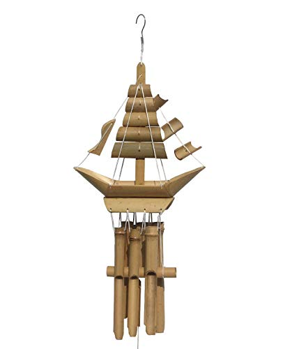 Bamboo Wind Chime, Boat-Shaped Top & 6 Small Bamboo Tubes, Eco-Friendly Handmade Home Décor for Patio, Garden or Indoor, Natural Soothing Sound 32 inch