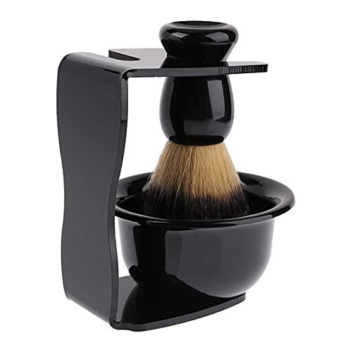 JSTF 3 en 1 Jabón de Afeitado+Cepillo de Afeitado+Soporte de Afeitado Cerda Cepillo de Afeitadora Hombres Barba Herramienta de Limpieza
