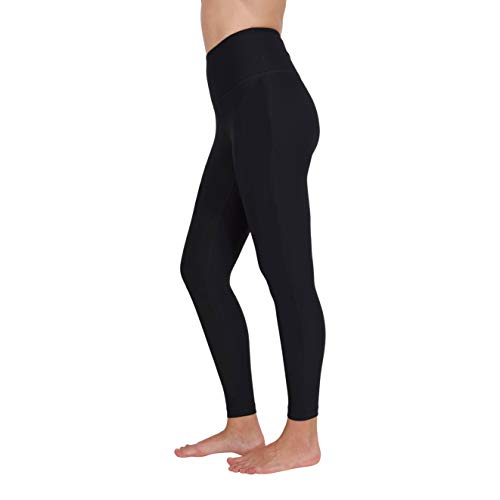 Yogalicious High Waist Ultra Soft Lightweight 7/8 Leggings - High Rise Yoga Pants - Black - Large