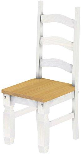 Brasilmöbel, 2 x eetkamerstoel, variant en kleur naar keuze, eetkamerstoel, klassiek, massief hout, echt hout, stoel, hout, woonkamerstoel, leuning, keukenstoel, landhuis landhuis Mexiko 205 eiken licht wit