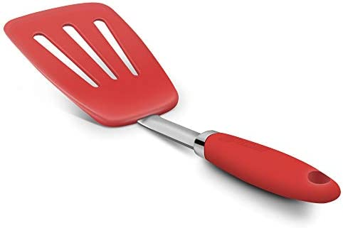Hygienic Solid Heat Resistant Flexible Slotted Silicone Spatula Red Non stick Silicone Turner product image