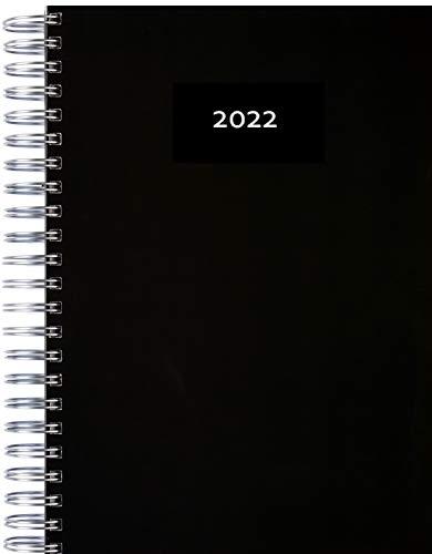 Agenda 2022 gruesa, con espiral, tamaño A4, vista diaria, calendario de oficina, agenda de planificación, agenda de diario, calendario KITA, color negro