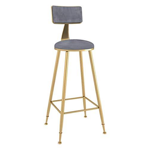 Barkruk, hoge stoel met voetensteun, keuken, thekenkruk, ontbijtstoel, keukenstoel, café, barkussen, fluweel, zithoogte 29,5 inch, barkruk