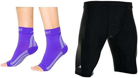 CompressionZ Compression Foot Sleeves Men s Compression Shorts Bundle Purple Black Small product image