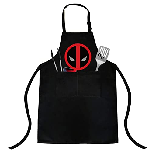 Novel and interesting Deadpool fans cooking apron, apron and chef hat set, women's adjustable waterproof barbecue apron, two spacious pockets, unisex, most suitable for one size…