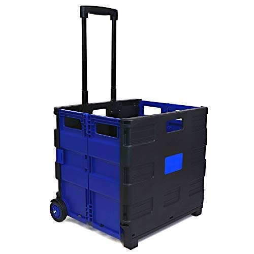 Emraw Blue Folding Cart On Wheels with Lid Cover Capacity Two-Wheeled Rolling Retractable Hand Cart Collapsible Grocery Folding Utility Cart Trolley Handcart with Lid for Shopping