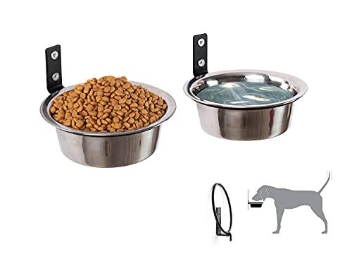 Hundenäpfe Customized Höhe Wandmontage Erhöhte Tierfütterung -Hundebar höhenverstellbar - 2X Edelstahl Futternapf,Hundenapf mit Faltbar Halter,für mittlere & kleine Hunde
