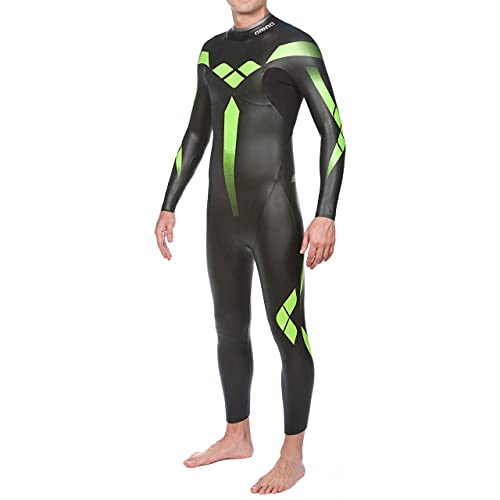 Arena Men's Triathlon Wetsuit Triwetsuit Full Sleeve Neoprene for Open Water Swimming, Ironman and USAT Approved, Black, Large