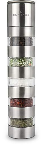 ROMINOX Geschenkartikel Gewürzmühle // Variation – Dekorative Gewüzmühle mit 5 separaten Gewürzkammern, verstellbares Keramikmahlwerk – praktisch und platzsparend; Maße: ca. 5.5 x 5.5 x 24.5 cm