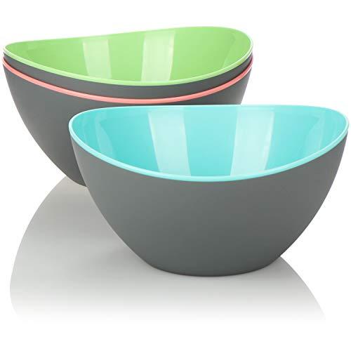 COM-FOUR®, juego de 3 piezas de ensaladeras, tazones decorativos grandes para ensaladas, frutas, bocadillos y mucho más, tazones aptos para el lavavajillas