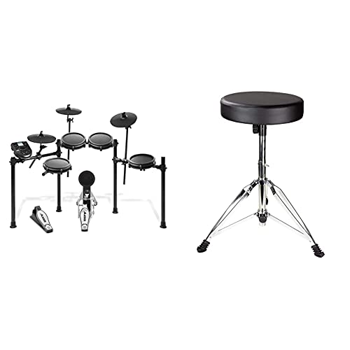 Alesis Nitro Mesh KitBatería Electrónica Musical de 8 Piezas con Cabezales de Malla, Rack Aluminio, 385 Sonidos, 60 Pistas para tocar, Baquetas + RockJam Taburete de tambor ajustable