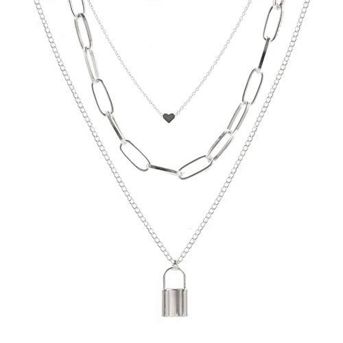 QQAAZZ Multi Layer Heart Lock Halskette Vintage Chain Shape Lock Shape Anhänger Schlüsselbein Kette Schmuck Zubehör Geschenk,Stil 2