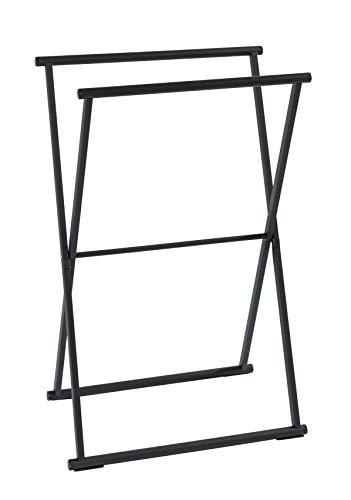 WENKO Toallero Lava negro mate - Perchero de pie, plegable, Acero, 53.5 x 80.5 x 35 cm, Negro