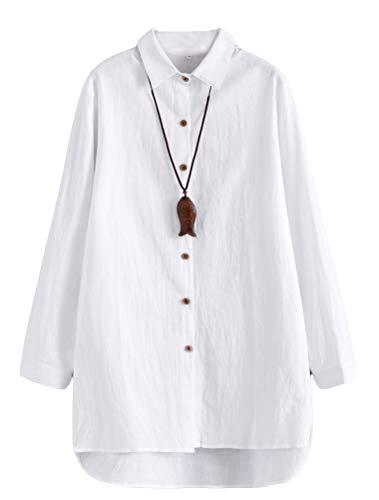 Mallimoda Damen Blusen Hemdkleider Langarm Tunika Oberteil Unregelmäßigem Saum Longshirts Weiß XL