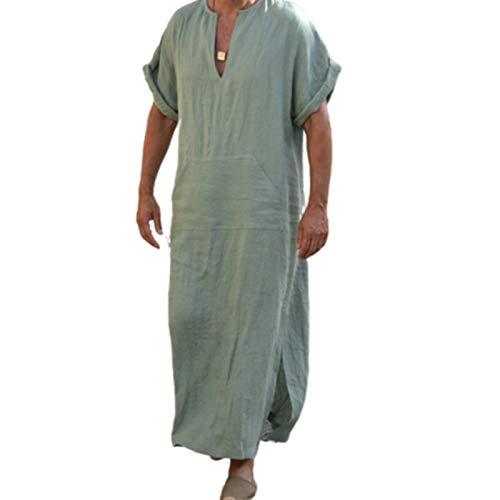 QTYJQ Herren V-Neck Leinen Robe Kurzarm Herren Nightshirt Langarm Nachtwäsche Night Sleep Shirts Herren Pyjama Kleid