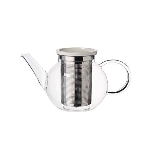 Villeroy und Boch Artesano Hot und Cold Beverages Teekanne M mit Sieb, 1 L, Borosilikatglas/Edelstahl, Klar