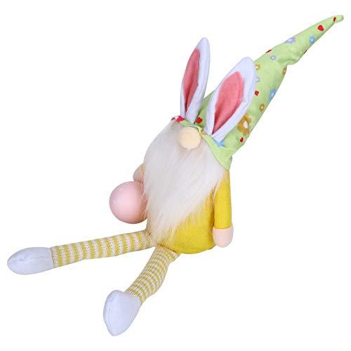 Ostern Gnome Ornamente, Plüsch gestrickt gesichtslose Puppe Dekorationen mit langen Beinen,(Long Legs Cuddling Yellow Rudolph)