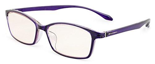 エッシェンバッハ 老眼鏡 ブルーライトカット 中近両用 +1.5 +0.5 度数 PCビュアー 弾性フレーム 日本製 クリアパープル 2993-1115
