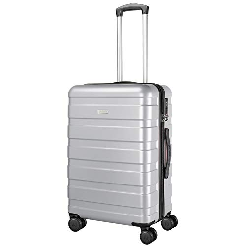 Amasava valigie rigide ABS+PC hard shell super leggero da viaggio Carry On trolley 8 ruote valigia,65cm,65L, Argento