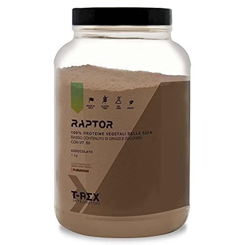 T-Rex Integratori, Proteine Vegane Cioccolato 1000g, Basso contenuto di Grassi e Zuccheri. Polvere Proteica da Proteine Vegetali della Soia, Con Vitamine B6. 33 porzioni da 23g di Proteina