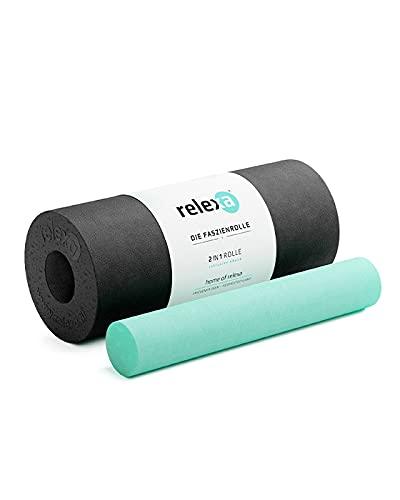 RELEXA® Faszienrolle 2in1 | Ideal Zur Massage Bei Rückenschmerzen & Als Ergänzung Zum Fitness-Training | Angenehmes Material & Recyclebar | Schwarz
