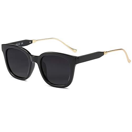 SOJOS Fashion Rechteckig Polarisierte Sonnenbrille Damen Herren Übergroß in Mode SJ2050 mit Schwarz Rahmen/Grau Linse