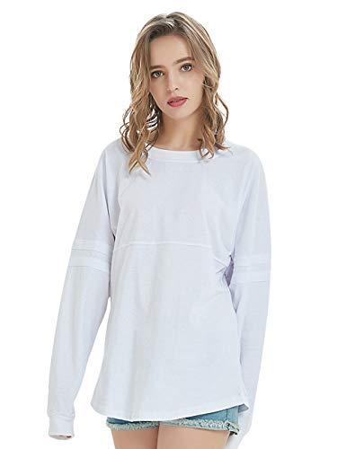TOPTIE Women's Crewneck Pom Pom Pullover Jersey Youth Long Sleeve Baseball Tee Shirt-White-S