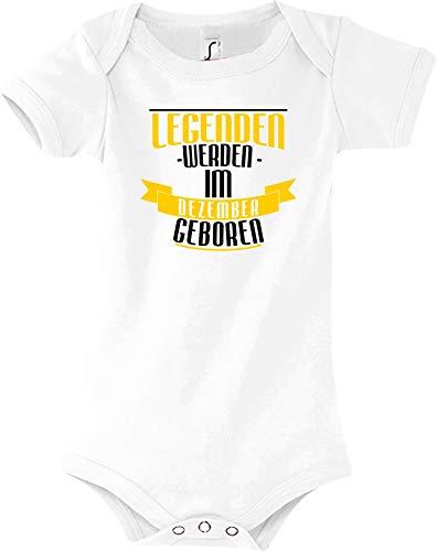 Shirtstown Body Bébé Légendes de Décembre Né - Blanc, 18-24 Monate
