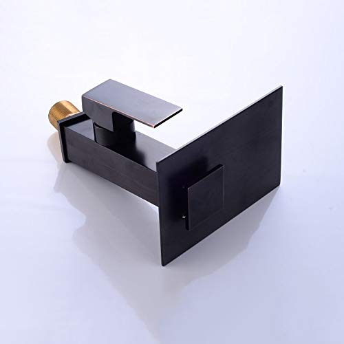 Yangmanini Lavabo Simple Baño Completo Cobre Negro Inclinación Grifo De La Cascada De Agua Caliente Y Frío Acondicionado Moderno del Solo Agujero Grifo