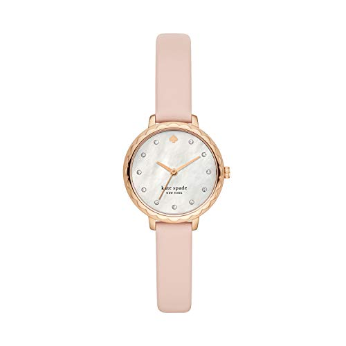 Kate Spade New York Women's Morningside Stainless Steel Quartz Watch with Leather Strap, Pink, 10 (Model: KSW1665)
