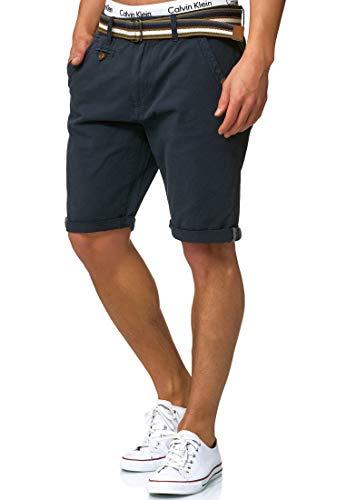 Indicode Herren Cuba Chino Shorts mit 5 Taschen inkl. Gürtel aus 100{8000dade519f55e4c7a8c0f0b265ae69509ea11063952b46a5b94b7964e6b22a} Baumwolle   Kurze Hose Regular Fit Bermudas Sommerhose Herrenshorts Short Men Pants Chinohose für Männer in Blau Navy XL