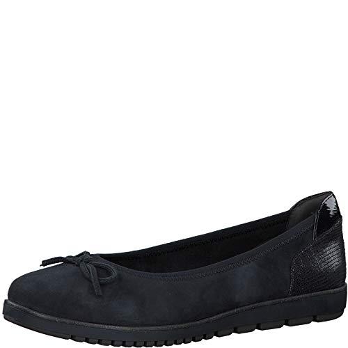 Tamaris Mujer Bailarinas, señora Bailarinas clásicas,Zapatos Planos,Zapatos Planos,Zapatos del Verano,Elegante,en Lazo,Ocio,Navy,37 EU / 4 UK