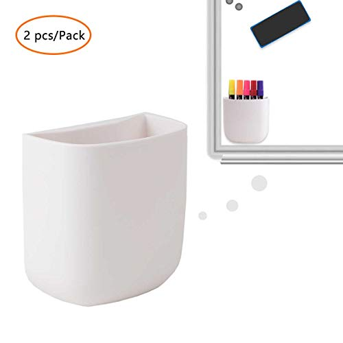 (2 pcs/Set) Office Supplies Pen Holder Organizer Caddy Self Adhesive Cubicle Wall Mounted Stick On Store Pens, Pencils, Sticky Notes and Other Supplies White
