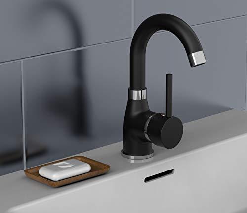 EISL NI075FUTBCR Waschtischarmatur Futura, Badarmatur, Wasserhahn Bad mit Energiesparfunktion, 360° schwenkbar, Einhebelmischer Schwarz matt/Chrom
