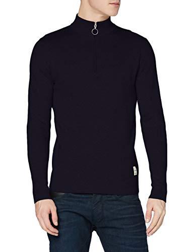 JACK & JONES Herren JORROY Knit HIGH Neck Zip Pullover, Navy Blazer, M