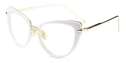 XFentech Herren Damen Retro Brillen Unisex Mode Cateye Klare Linse Brillen Klassische Sonnenbrille, Weiß/Transparent