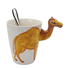 Creative Fun vivid Hand Painted handmade Design of ceramic ,Smooth surface and solid amazing body shape,colorful painting,high quality with stainless steel coffee spoon ,Large Capacity of 15 ounce!! High Quality & Food Safety ,BPA-free and Lead-free,...