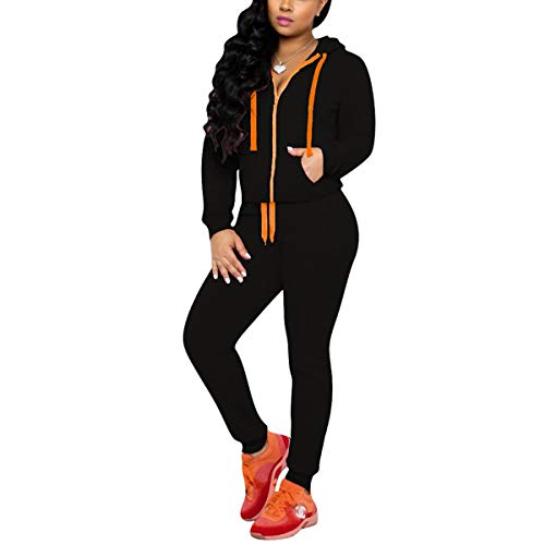 Mrskoala 2 Piece Outfits Lounge Jogging Suits for Women Sweatsuit Tracksuit Long Sweatpants Set Black M
