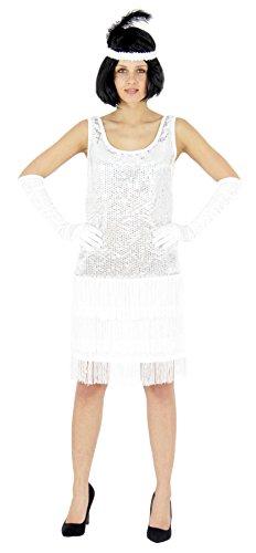 Foxxeo 40205 | 20er Jahre Damen Kleid Charleston Kostüm Mafia 20s Flapper weiß, Größe:S