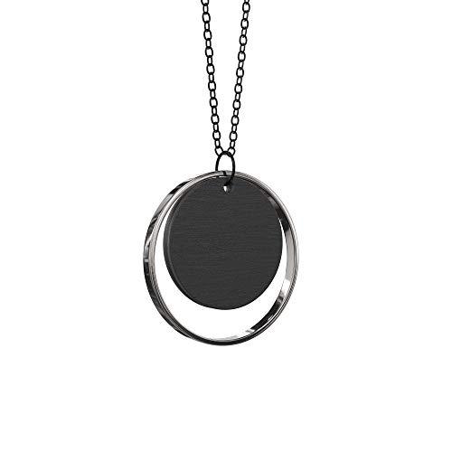 Grundled | Adverbium - Silber | Halskette mit Holz Anhänger | Kettenlänge 75 cm | silber