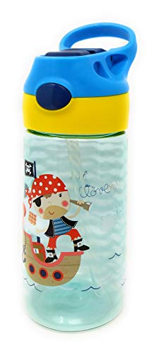 Botellas de Agua Infantiles con Pajita y Sin BPA - Fabricadas con Productos Europeos / 450 ml (Pirata)