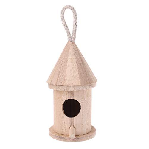 Wru Casita para Pájaros De Madera Natural, Casita para Pájaros Colgante, Jaula De Pájaros para Jardín Al Aire Libre
