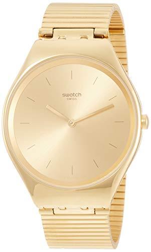 Swatch Herren Analog Quarz Uhr mit Edelstahl Armband SYXG100GG